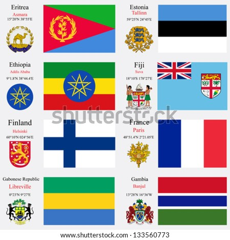 world flags of Eritrea, Estonia, Ethiopia, Fiji, Finland, France, Gabonese Republic and Gambia, with capitals, geographic coordinates and coat of arms, vector art illustration