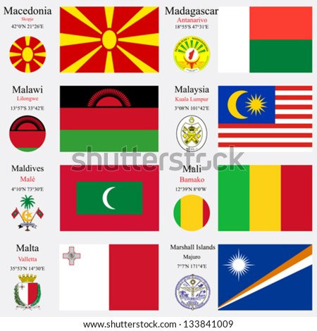 world flags of Macedonia, Madagascar, Malawi, Malaysia, Maldives, Mali, Malta and Marshall Islands, with capitals, geographic coordinates and coat of arms, vector art illustration