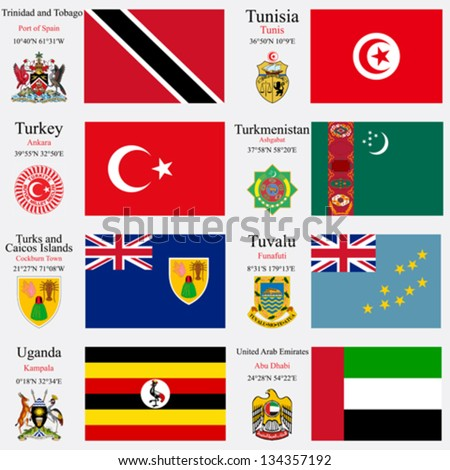 world flags of Trinidad and Tobago, Tunisia, Turkey, Turkmenistan, Turks and Caicos Islands, Tuvalu, Uganda and United Arab Emirates, with capitals, gps and coat of arms, vector art illustration