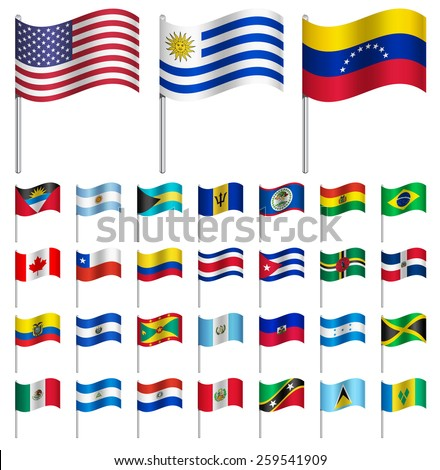 world flags on pole america