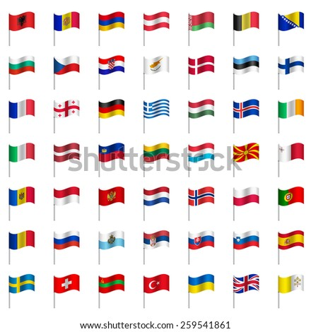 world flags on pole europe part