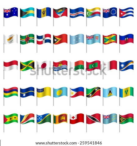 world flags on pole islands