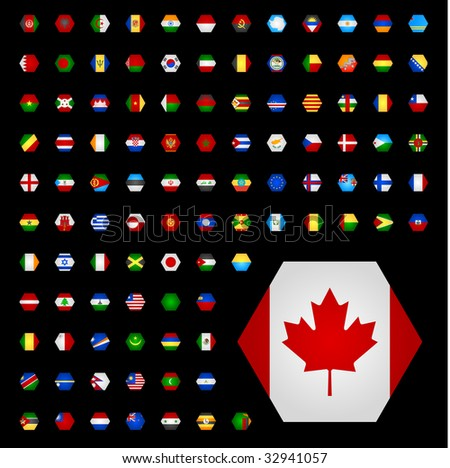 World flags part 2 hexagon shaped