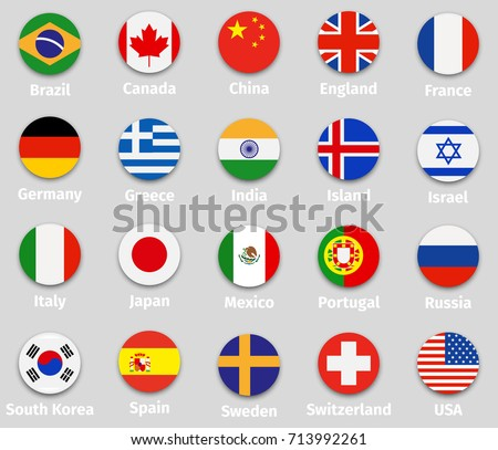 world flags set  round icons