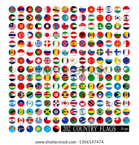 World flags set, round icons with shadow isolated vector illustration. 10 eps #1306147474