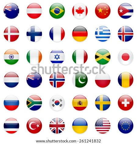 World flags vector collection. 36 high quality clean round icons. Correct color scheme. #261241832