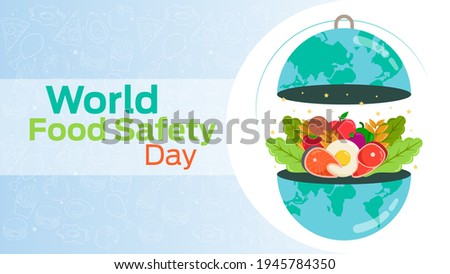 world food safety day on June 7 business brochure flyer banner design horizontal template vector, cover presentation abstract, modern publication poster and flag-banner, layout in rectangle size.