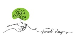 World forest day vector sketch, background. Green tree in hand concept. One continuous line drawing doodle, minimalistic web poster with tree.