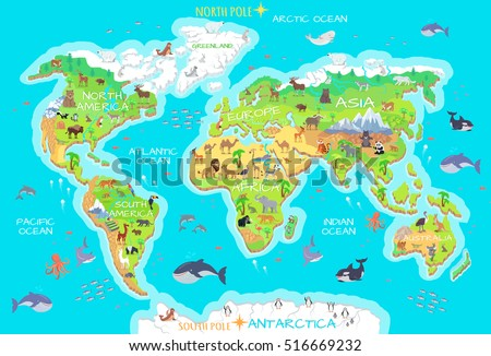 World geographical map with flora and fauna. Animals of land, oceans. North and South America, Europe, Asia, Australia, Africa, Antarctica. Vector illustration. Pacific, Atlantic, Indian, Arctic Ocean