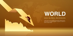 World global recession. Vector Illustration of businessman fall down on decreasing arrow as a sign of the economic crisis, impact of the coronavirus outbreak.