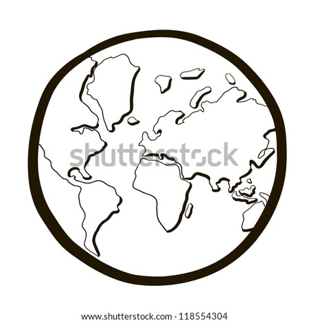 World Cartoon Drawing World Globe a Cartoon Sketch