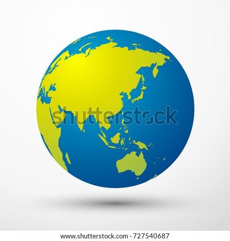 world globe Asia, Australia, Japan