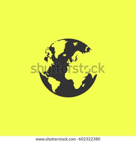 world globe icon flat