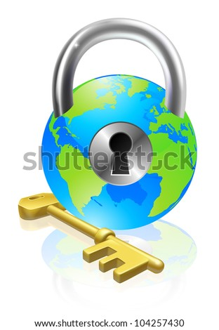 World globe like a locked padlock with key. Concept could be for internet security, data protection or general security