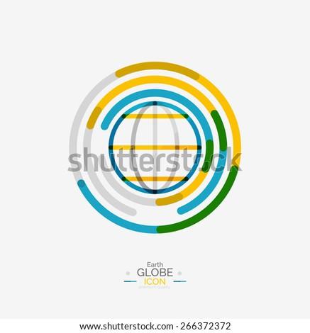world globe logo stamp  minimal