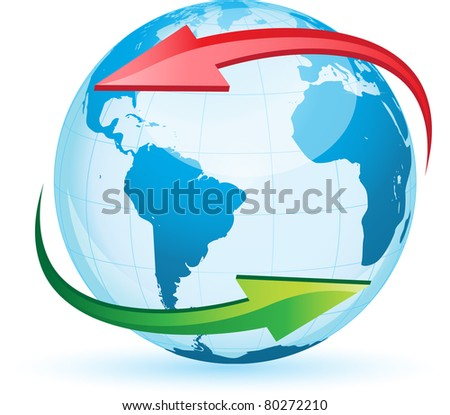World globe map isolated on white background