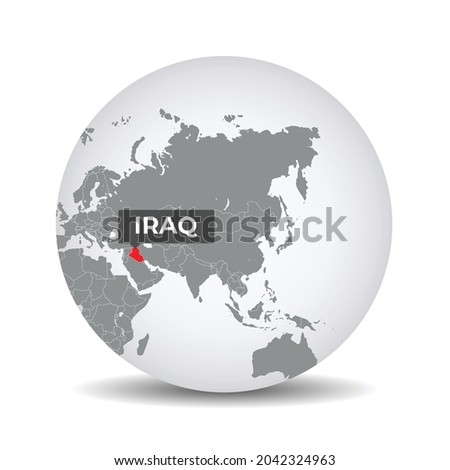 World globe map with the identication of Iraq. Map of Iraq. Iraq on grey political 3D globe. Asia map. Vector stock.