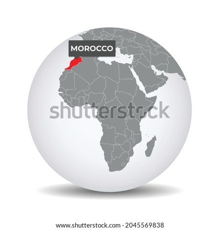 World globe map with the identication of Morocco. Map of Morocco. Morocco on grey political 3D globe. Africa map. Vector stock.