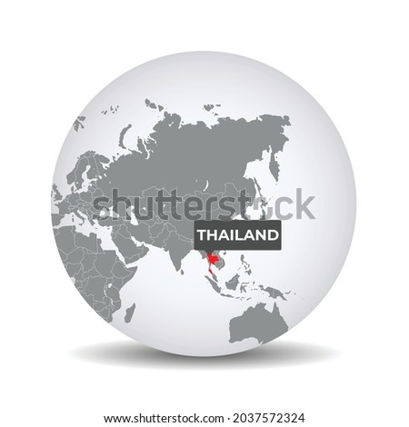 World globe map with the identication of Thailand. Map of Thailand. Thailand on grey political 3D globe. Asia map. Vector stock.