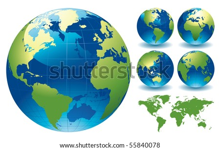 World Globe Maps - editable vector illustration - stock vector