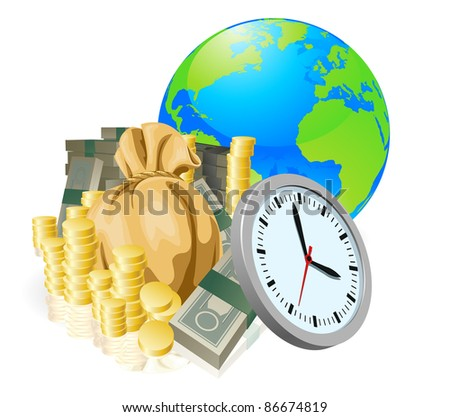 World globe money time business concept. Time is money, international business concept.