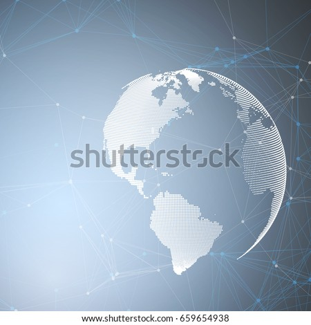 World globe on blue background with connecting lines and dots, polygonal linear texture. Global network connections, abstract futuristic geometric design, dig data technology digital concept.