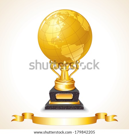 world globe trophy cup vector