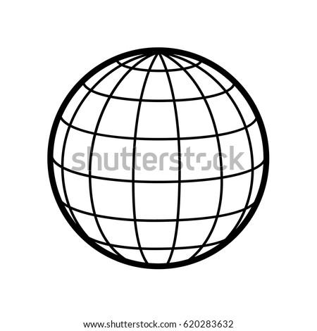 World / globe vector icon logo. 3D Sphere. Wireframe.