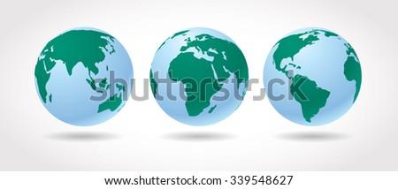 World globes vector set.
