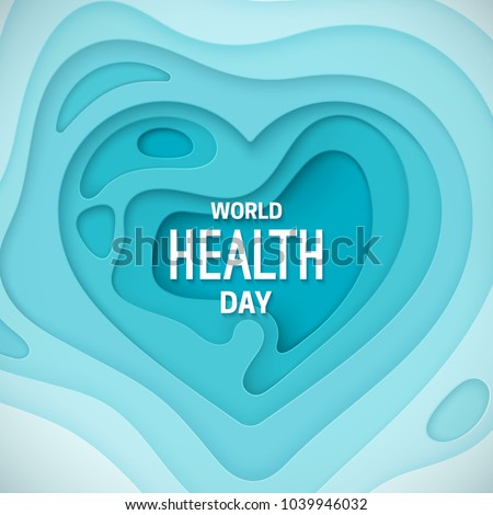 World health day banner. Vector paper cut illustration. 3d heart relief made of blue paper carved layers. Awareness day. Healthcare concept.