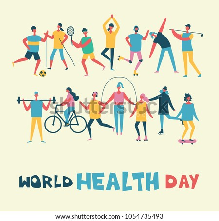 World health day banner with different sport activities