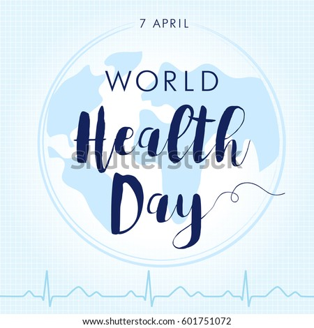 World Health Day cardiogram globe card. Globe and normal puls trace as a concept for 7 April, World Health Day
