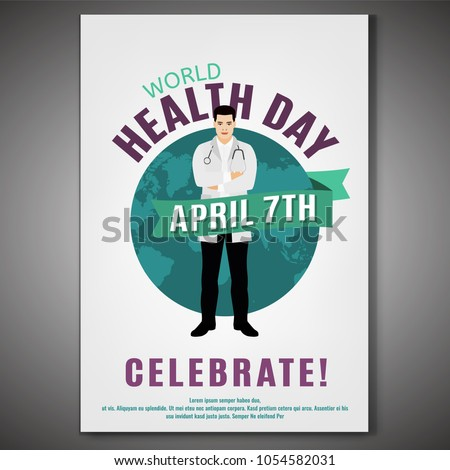 World health day concept. 7 April 2018. Medicine and healthcare poster. Editable vector illustration in green, blue and violet colors.