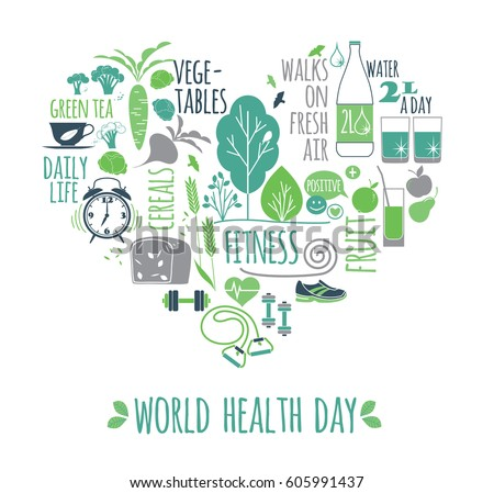 World health day concept healthy lifestyle illustration. Vector