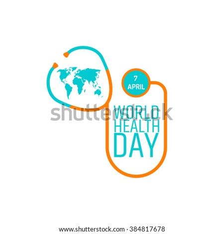 World health day concept. Stethoscope icon, world map on white background. Vector illustration. EPS 8.