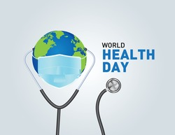 World Health Day Concept Vector Illustration. 7th April world globe with mask health concept Background. World health day concept text Poster design with doctor stethoscope. coronavirus health problem