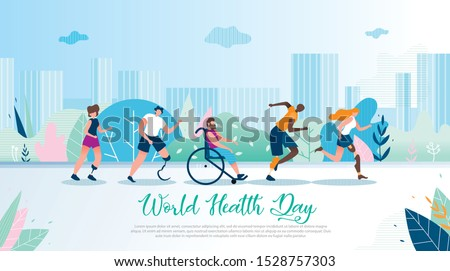 World Health Day Flat Vector Banner. Disabled Multinational Men and Women with Leg Prosthesis Running and Riding Wheelchair Outdoors Illustration. Handicapped People Active and Healthy Lifestyle