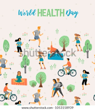 World Health Day. Healthy lifestyle. Roller skates, running, bicycle, walk, yoga. Design element in pastel colors with textures #1053158939