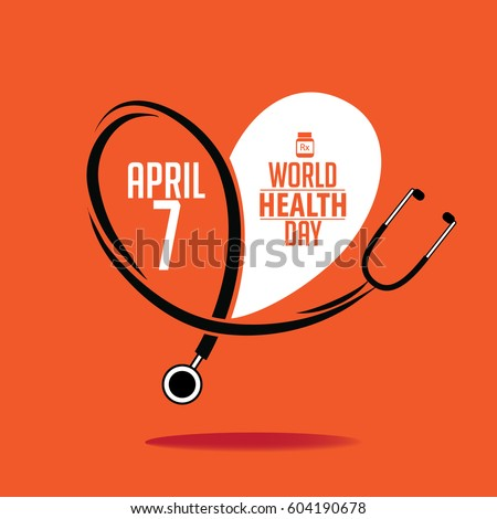 World Health Day heart and stethoscope design. IEPS 10 vector.