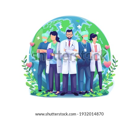 World Health Day illustration concept with a Group of staff medical doctors and nurses standing in front of the world globe. vector illustration