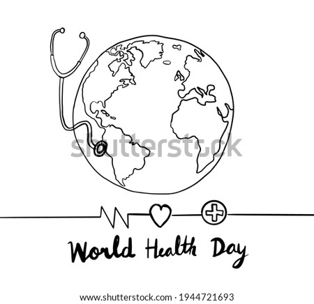 World health day line hand drawn,vector illustration.For April 7 holiday. Photo stock ©