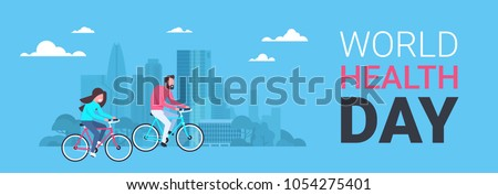 World Health Day Poster With Couple Riding Bike Over Silhouette City Background Healthcare Holiday Horizontal Banner