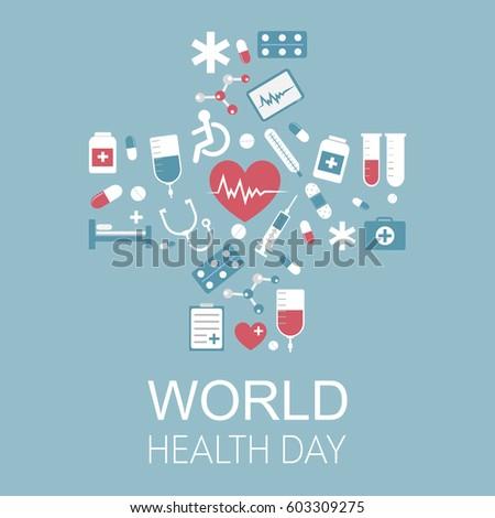 World Health Day vector illustration. Medical vector background for your website, business cards, brochures.