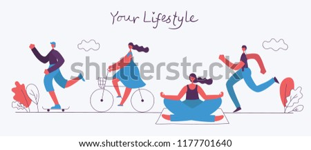 World Health Day. Vector illustration of Healthy lifestyle. Roller skate, running, bicycle, walking and yoga sport design elements in flat style