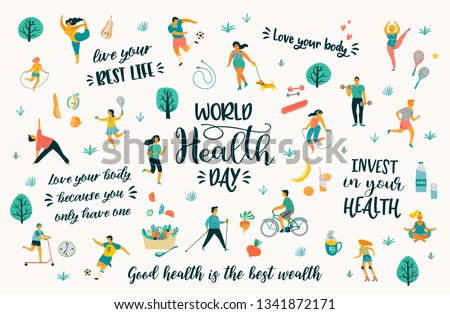 World Health Day. Vector illustration with people leading an active healthy lifestyle and quotes. Design element.