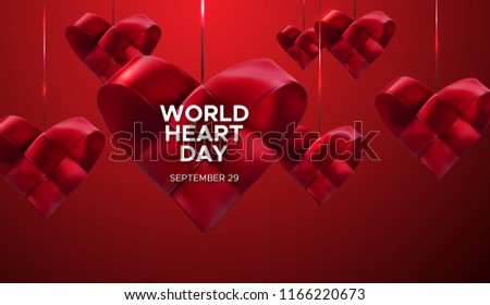 World Heart Day Background. Realistic satin ribbon woven heart with World Heart Day label. Vector illustration. Medical awareness day concept