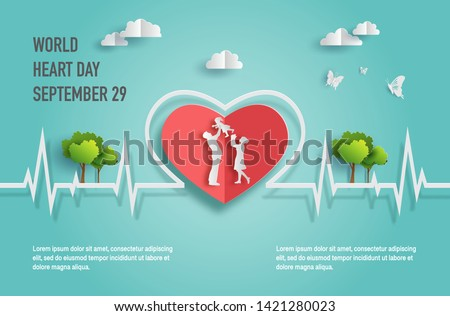 World Heart Day concept, happy family with heartbeat line, father holding baby daughter up in the air, paper art and craft style, flat-style vector illustration.