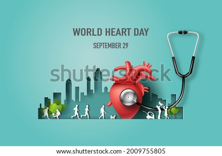 World Heart Day concept, heart with a stethoscope and many people in the city, paper illustration, and 3d paper.