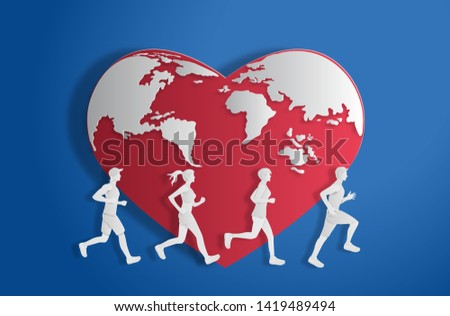 World Heart Day concept, red heart shape world with people running, paper art and craft style, flat-style vector illustration.