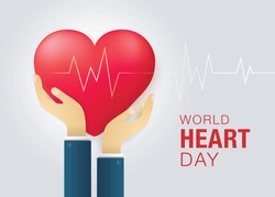 World heart day illustration concept. Hands Holding A Heart Vector, Red heart with hand embrace, Happy Earth Day, Abstract heartbeat Background,